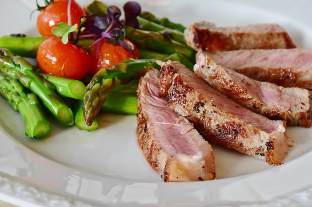 asparagus, steak, veal steak