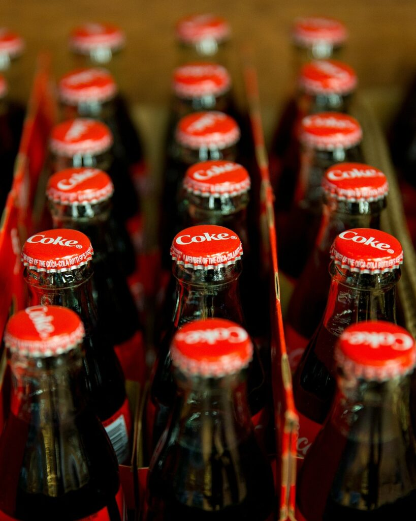 coca cola, coke, bottles